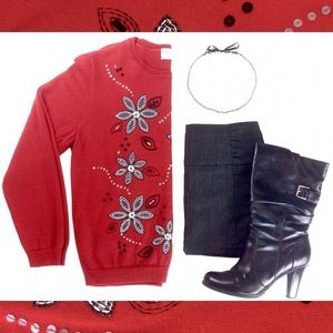 Red Alfred Dunner Embellished Sweater